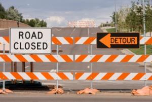 Road Closed Barricades Detour 423x284